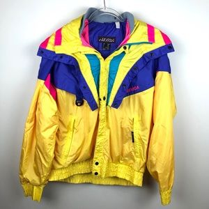 Vintage Jackets & Coats - Vintage Nevica Ski Jacket Size 40 Large Neon Retro